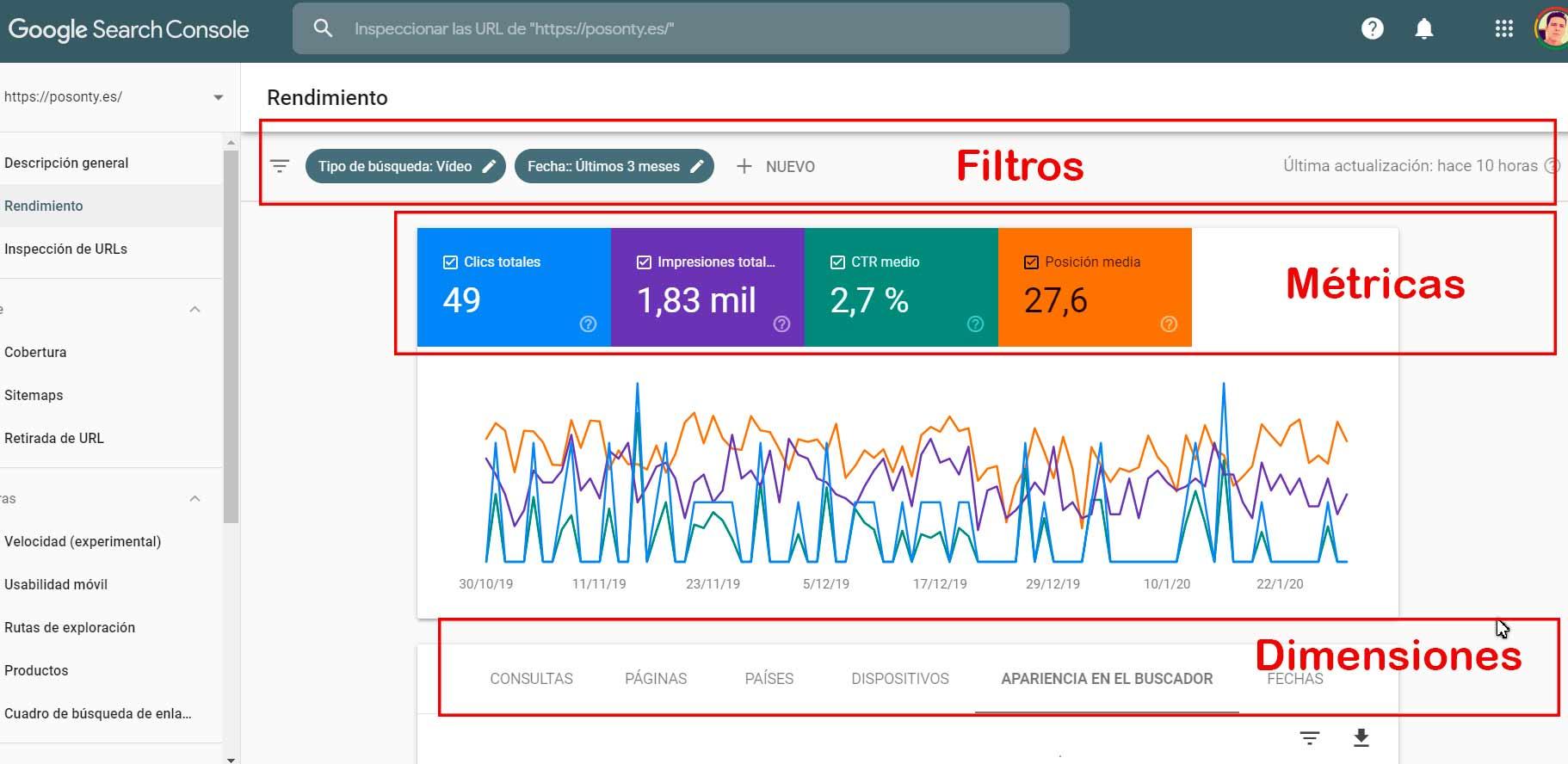 filtros métricas y dimensiones google search console