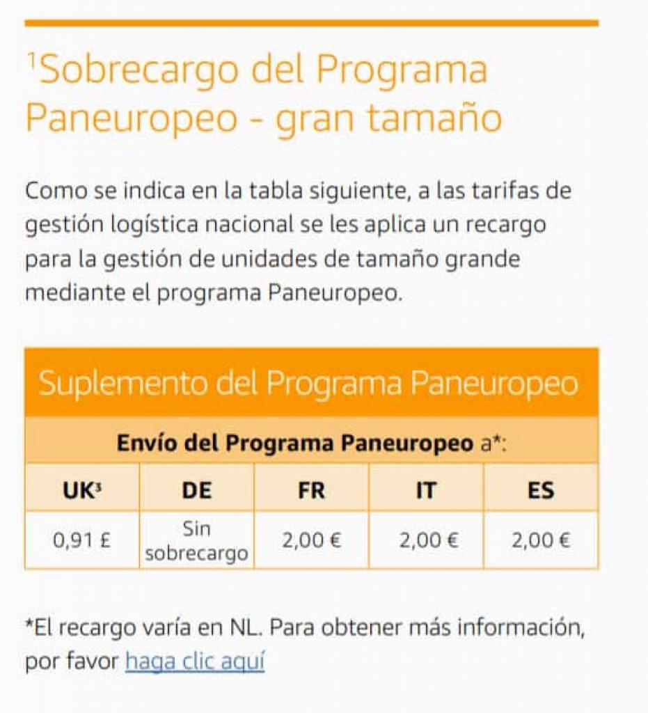 Sobrecargo de 2€ servicio panaeuropeo Amazon FBA